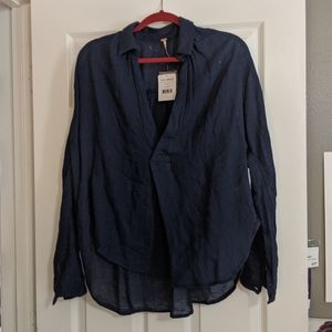 Free People Navy Collared Top